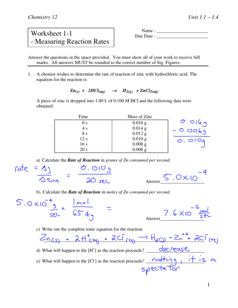 Worksheet 1-1 - Measuring Reaction Rates