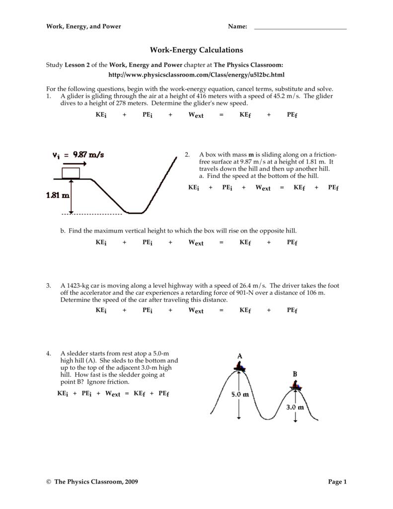 Work-Energy Calculations