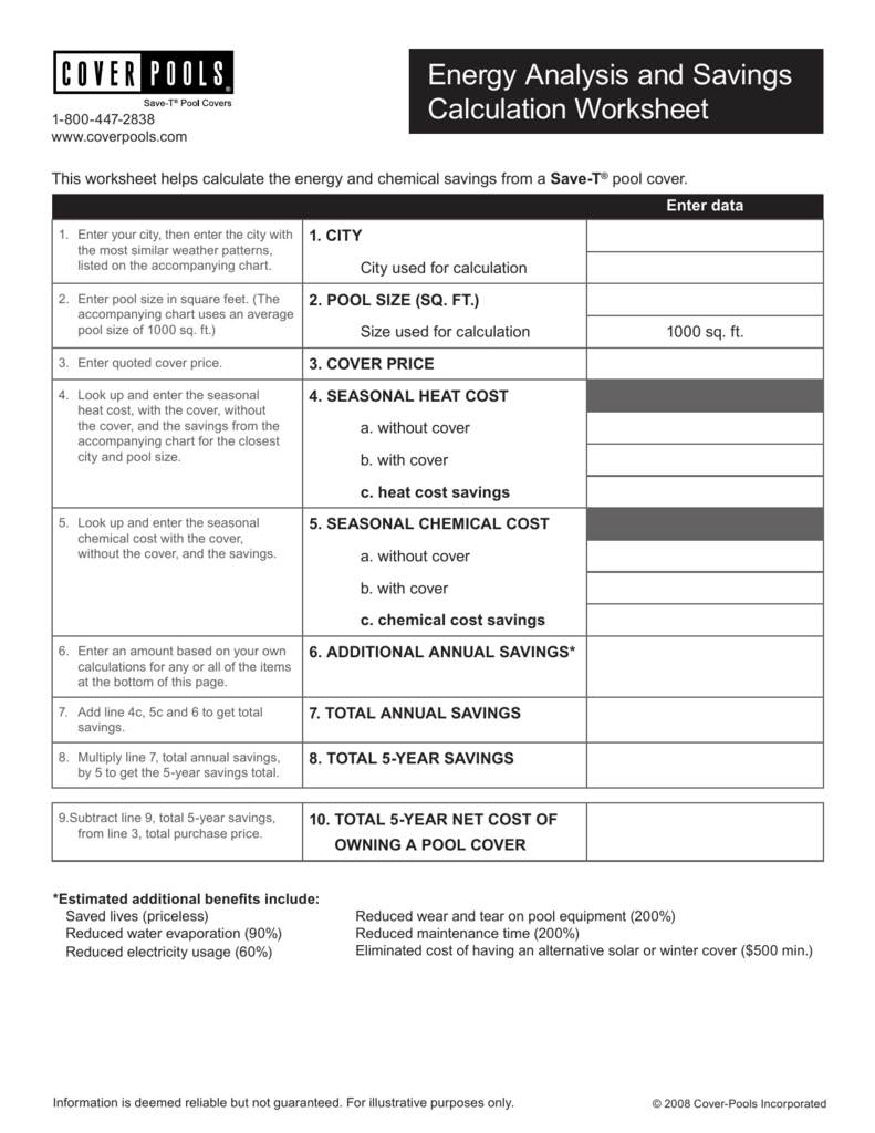 Energy Analysis and Savings Calculation Worksheet