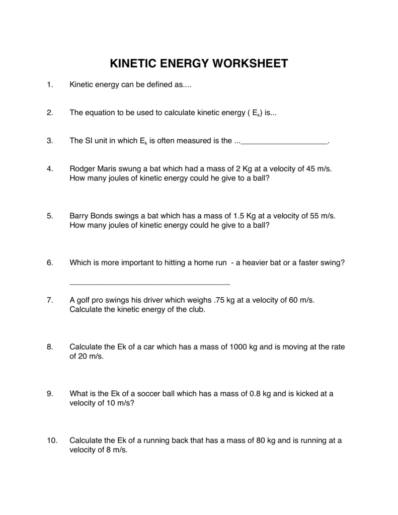 worksheet Kinetic Energy Worksheet kinetic energy worksheet