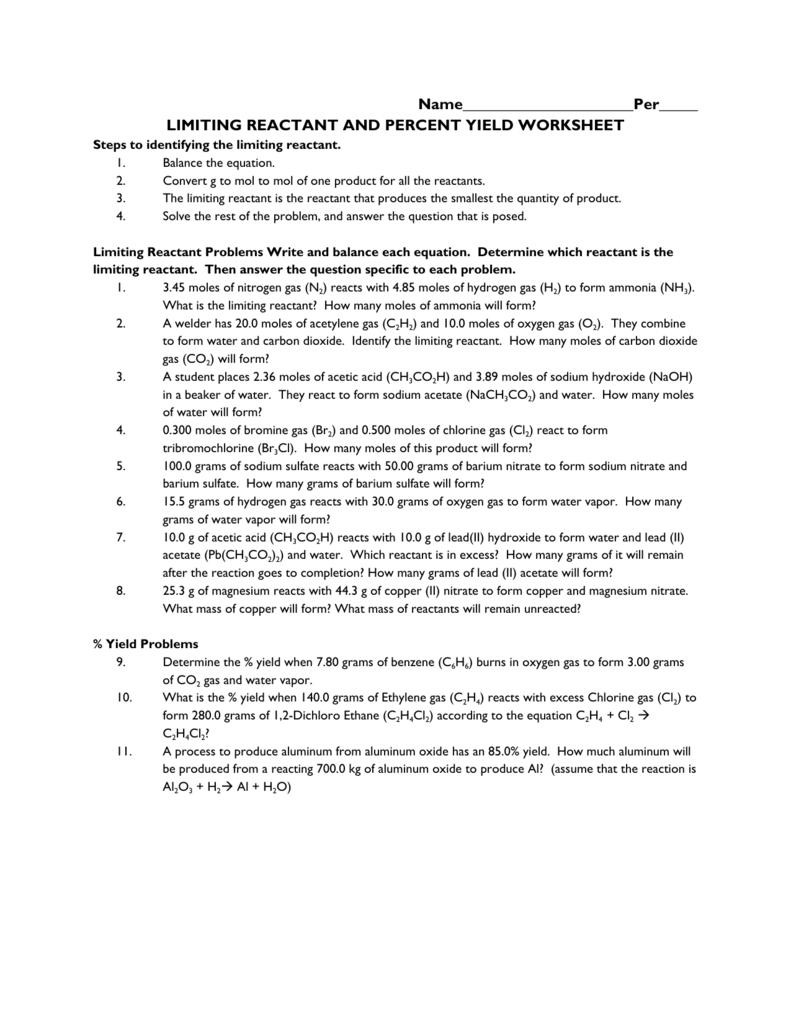 25 Limiting Reactant Worksheet Answers   Worksheet ...