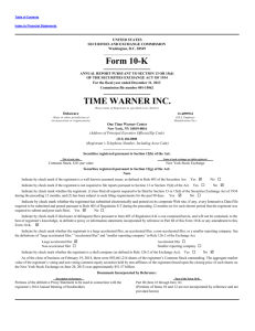 Form 10-K TIME WARNER INC. - Investor Relations Solutions