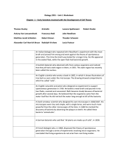 Biology 2201 – Unit 1 Worksheet Chapter 1 – Early Scientists