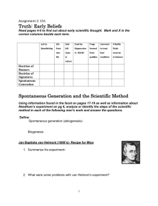 Truth: Early Beliefs Spontaneous Generation and the Scientific Method