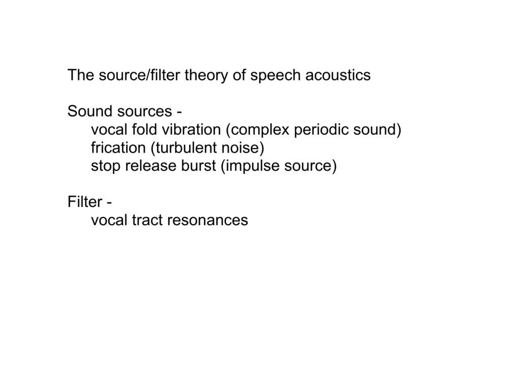 Source/Filter theory for vowels