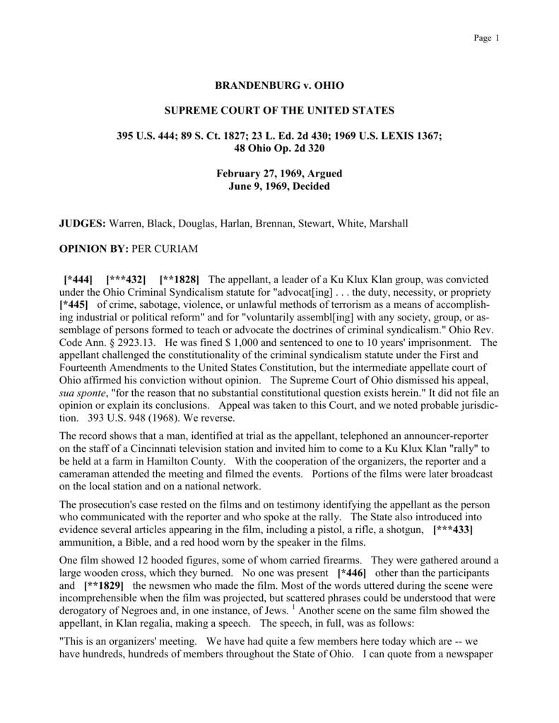 brandenburg v. ohio supreme court of the united