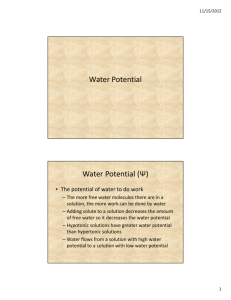 Water Potential Water Potential (Ψ)