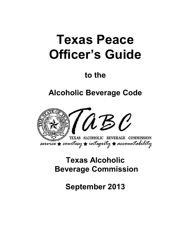 Texas Peace Officers Guide Texas Alcoholic Beverage Commission