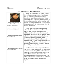 The Protestant Reformation Reading