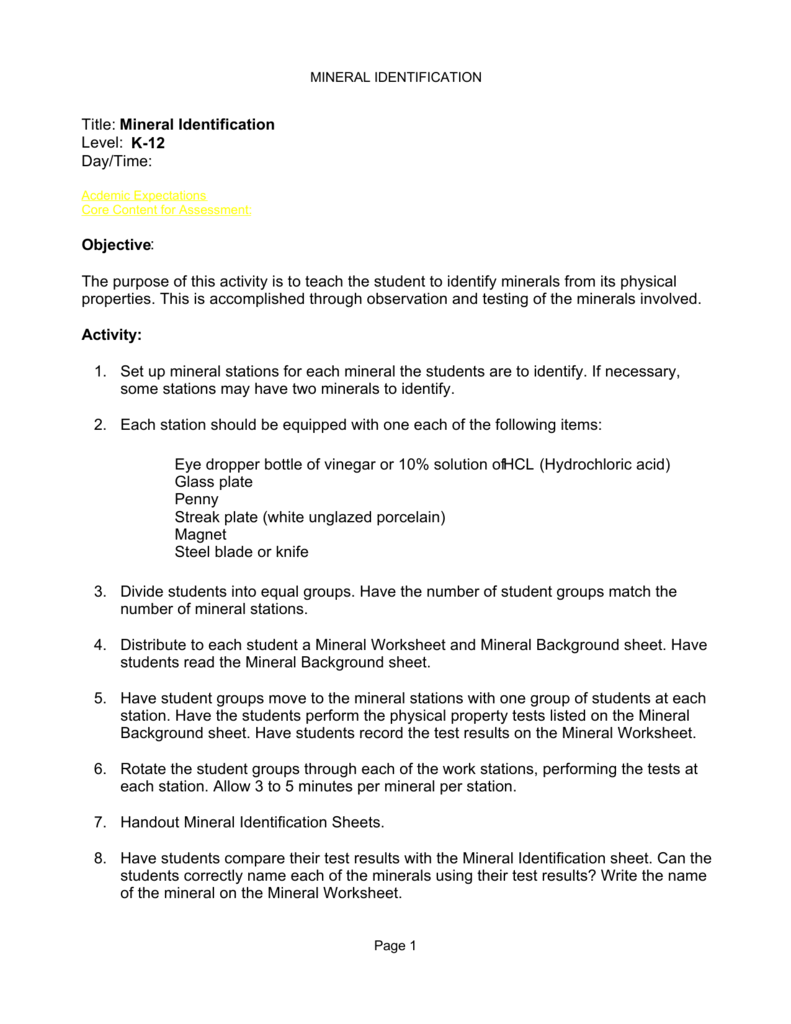 Worksheets Mineral Identification Worksheet title mineral identification level k