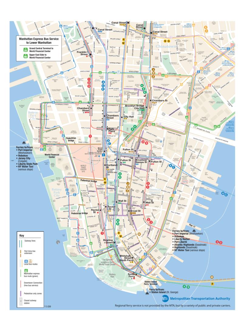 Lower Manhattan Subway Map With Streets.Lower Manhattan Map