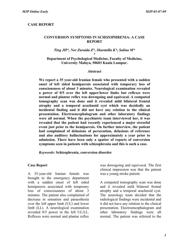 Conversion symptoms in schizophrenia