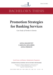 Promotion Strategies for Banking Services