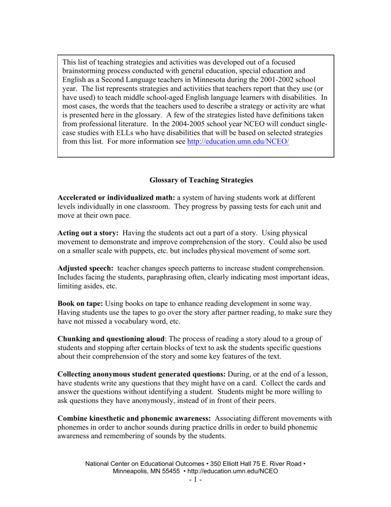 1 - Glossary of Teaching Strategies Accelerated or