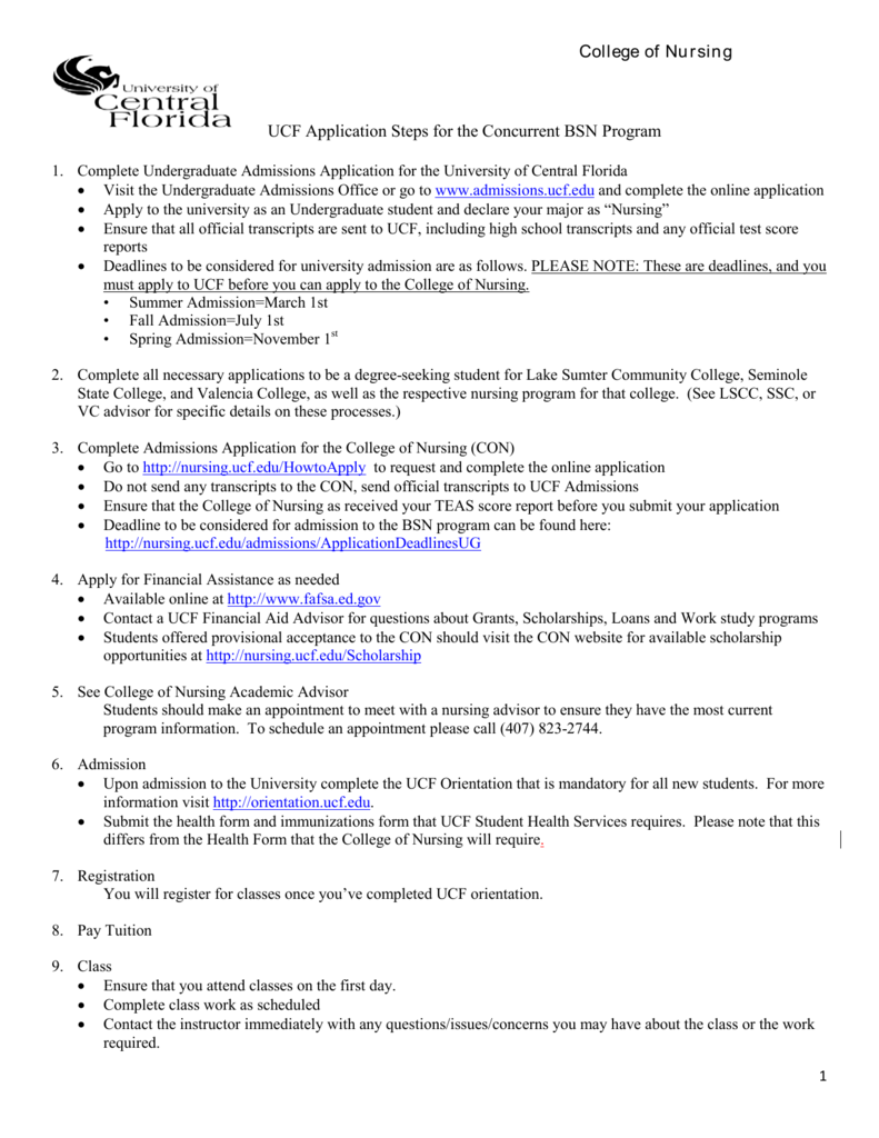UCF Application Steps for the Concurrent BSN Program College of