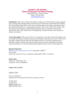ALBANY LAW SCHOOL Patent Prosecution and Patent Drafting