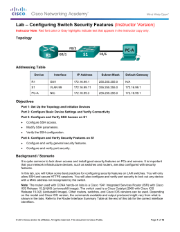 Lab – Configuring Switch Security Features (Instructor Version)