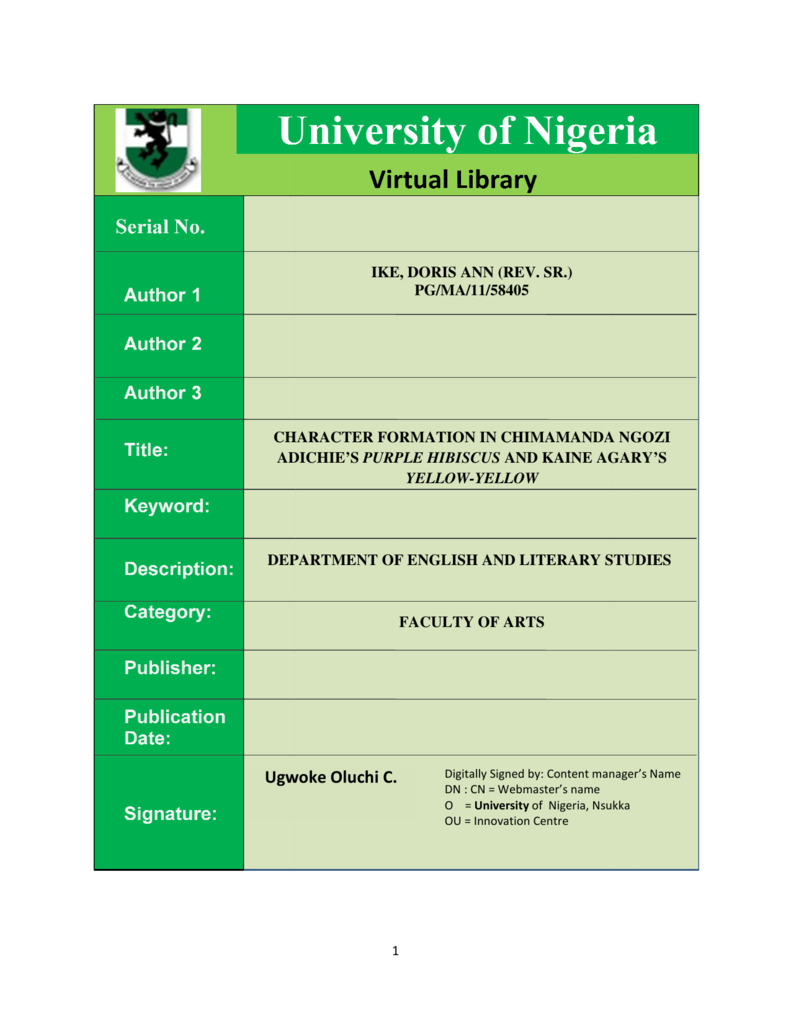 Pdf University Of Nigeria Nsukka