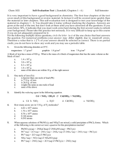 Chem 1021 Self-Evaluation Test ( Zumdahl, Chapters 1 – 4 ) Fall