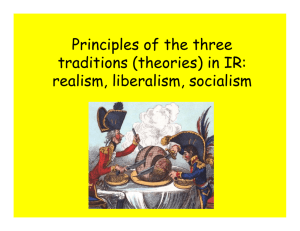 Principles of the three traditions (theories) in IR: realism, liberalism