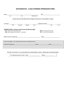 Course Override form - Oregon State University