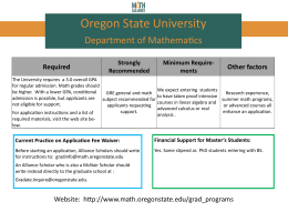 Oregon State University: Department of Mathematics
