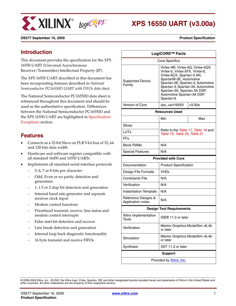 Xilinx DS577 XPS 16550 UART (v3 00a), Data Sheet