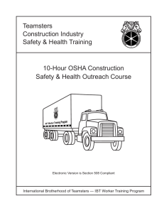 Teamsters 10-hour OSHA Construction Safety & Health Outreach