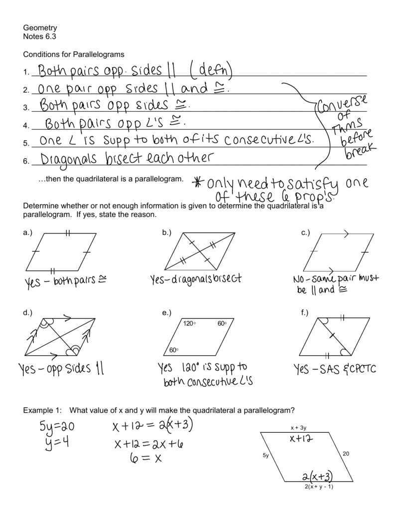 Geometry Notes 63 Conditions For Parallelograms 1