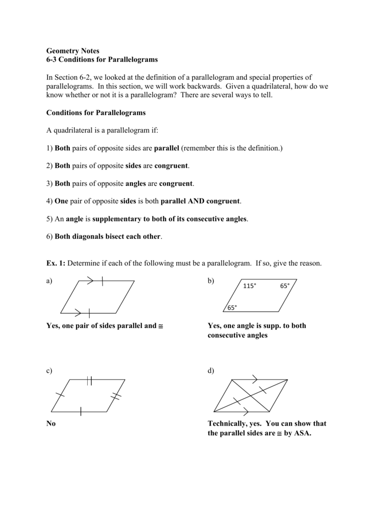 geometry notes 6-3 conditions for parallelograms in section 6