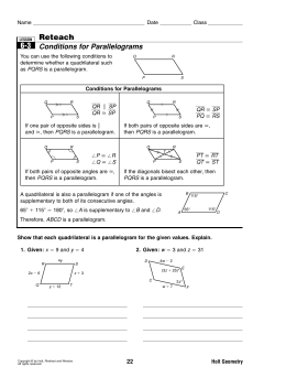 Reteach Conditions for Parallelograms 6-3