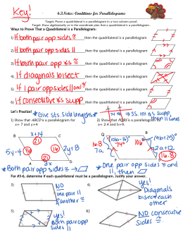 6.3Notes: Conditions for Parallelograms