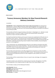 Treasury Announces Members for New Financial