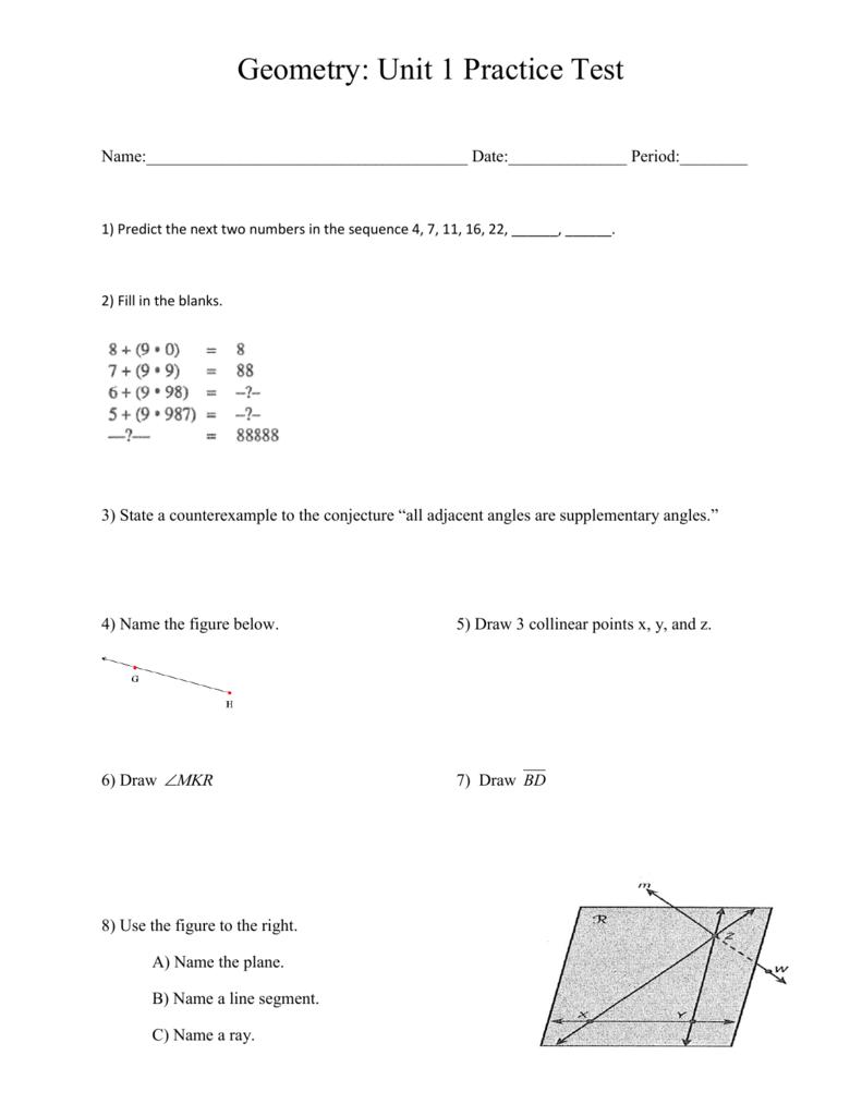 Geometry: Unit 1 Practice Test