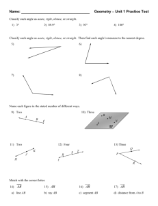 Name: Geometry – Unit 1 Practice Test W