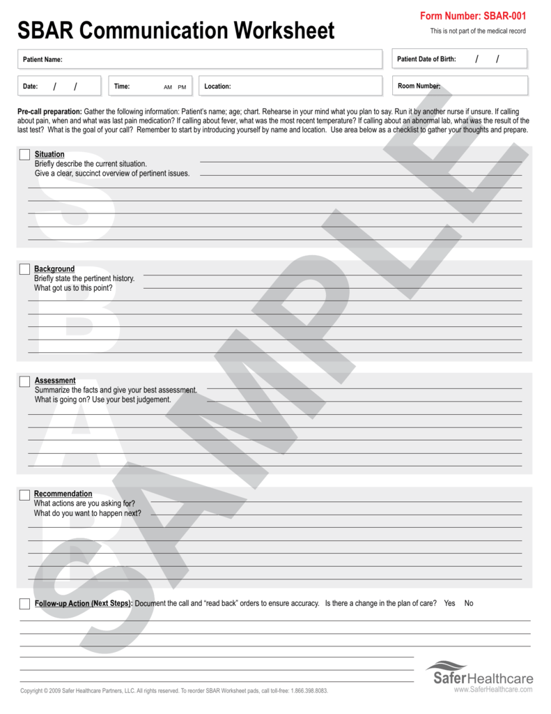 picture relating to Sbar Printable Forms identify SBAR Conversation Worksheet