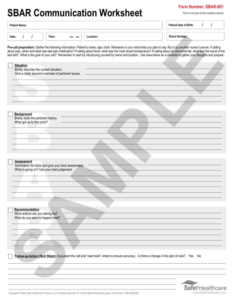 photo relating to Sbar Printable Forms titled SBAR Conversation Worksheet