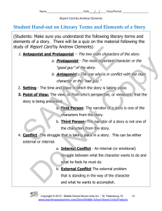 Student Hand-out on Literary Terms and Elements of a Story
