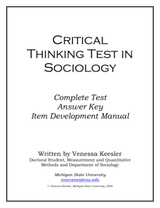 Critical Thinking Test in Sociology