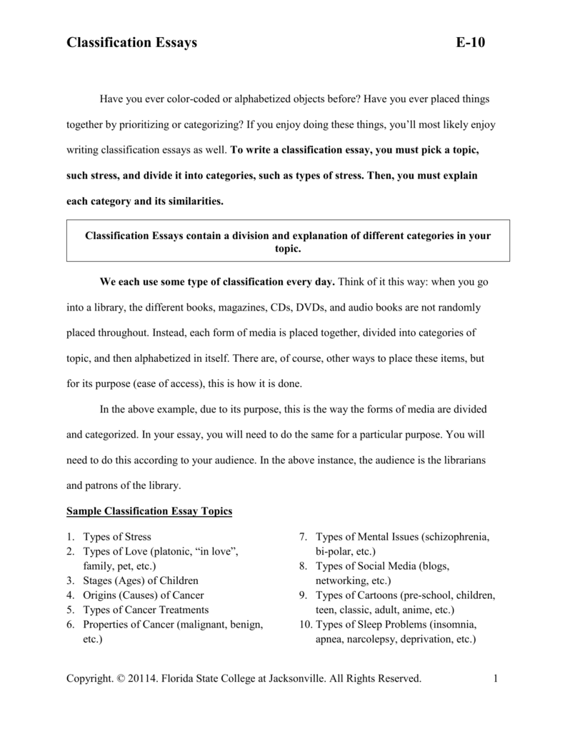E Classification Essays  Florida State College At Jacksonville  Starting A Business Essay also Who Can I Pay To Do My Business Plan  An Essay About Health