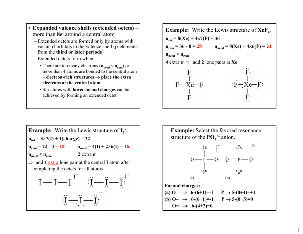 Expanded Valence Shells Extended Octets