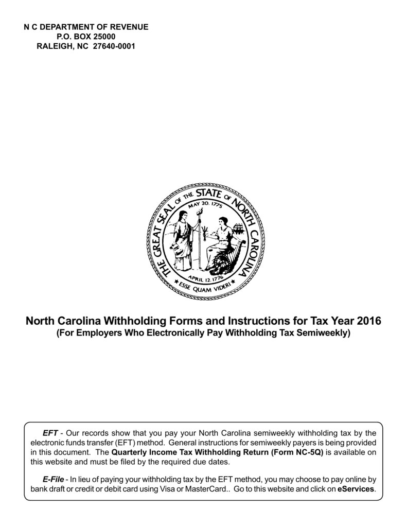 North Carolina Withholding Forms and Instructions for Tax Year 2016