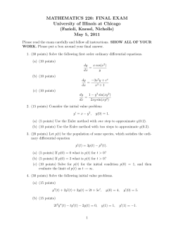 MATHEMATICS 220: FINAL EXAM University of Illinois at Chicago