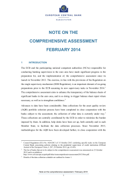 Note on the Comprehensive Assessment, February 2014