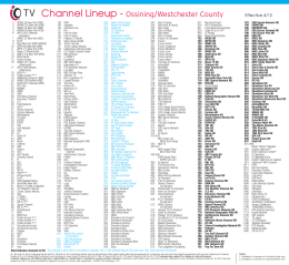 Channel Lineup - Ossining/Westchester County