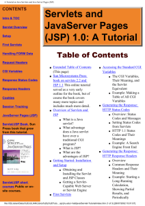 A Tutorial on Java Servlets and Java Server pages JSP (web).