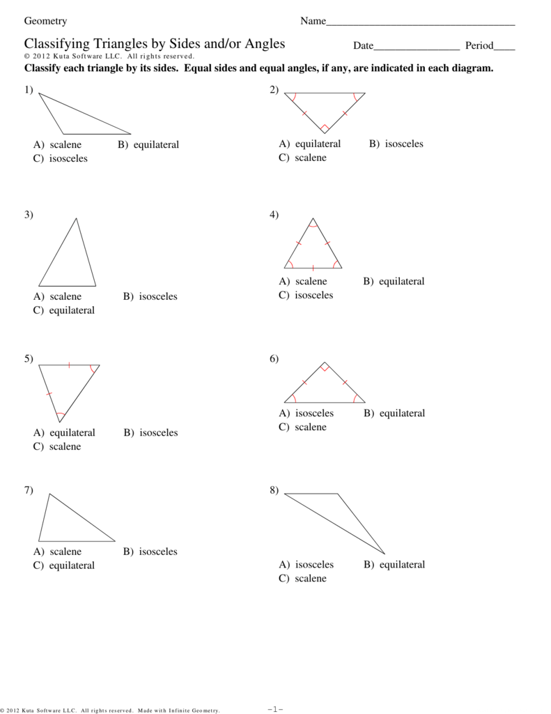 Classify triangles worksheet answers