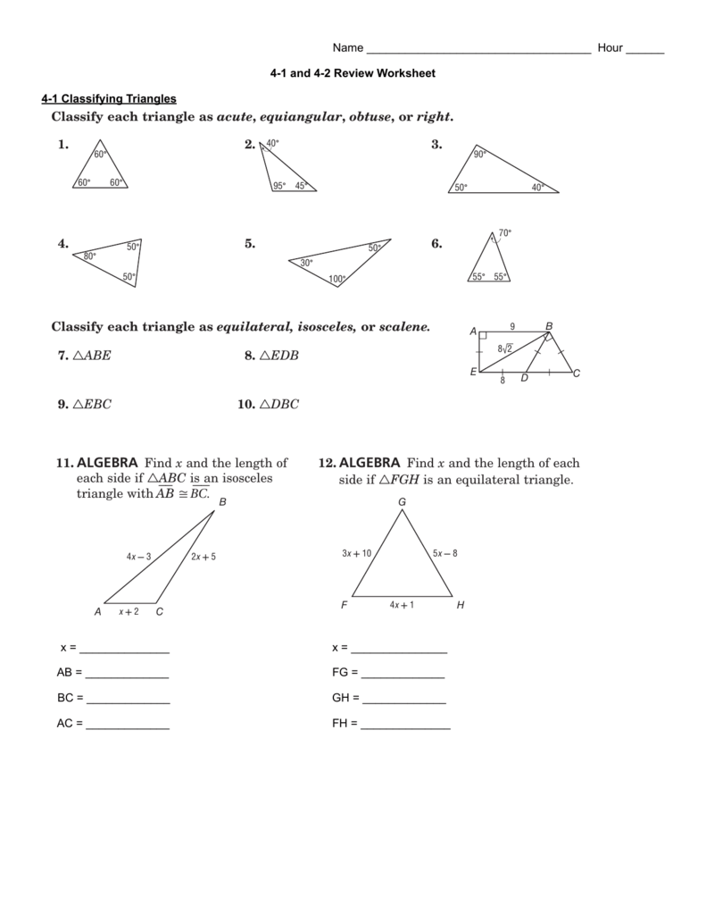 Worksheets Classify Triangles Worksheet 4 1 and 2 review worksheet