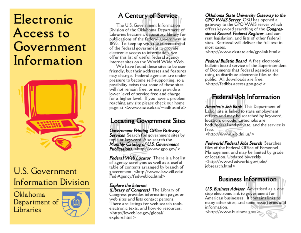 Electronic Access to Government Information