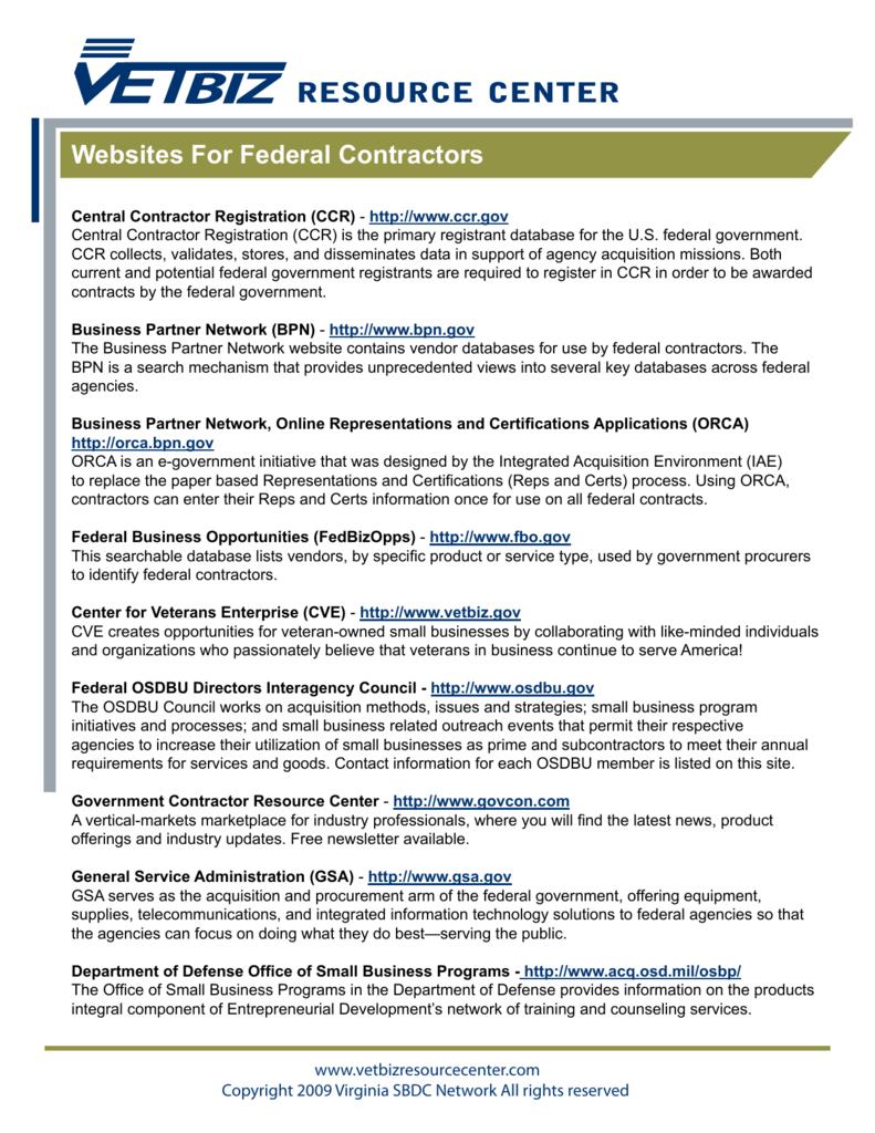 Websites For Federal Contractors